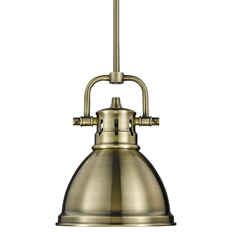 """Duncan 6 1/2"""" Wide Aged Brass Mini Pendant with Rod"""