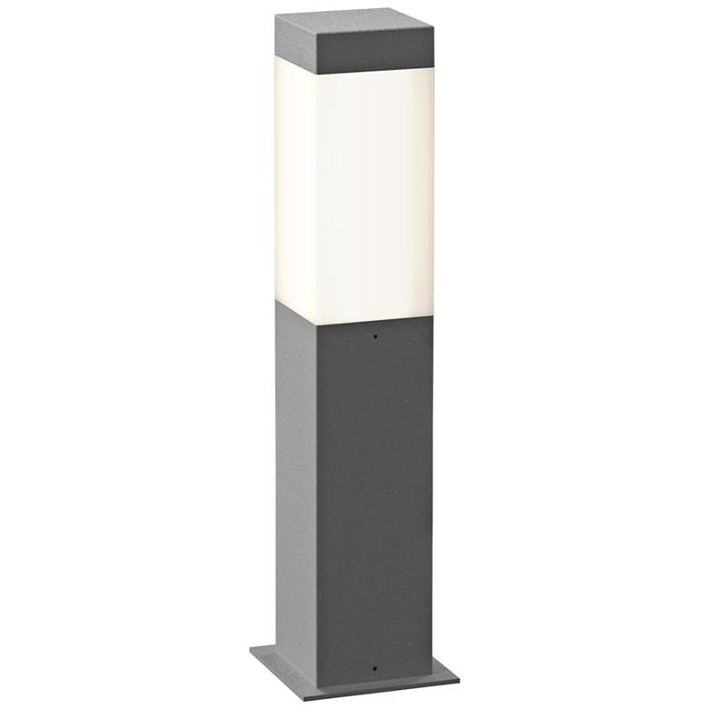 """Inside Out Square Column 16""""H Textured Gray LED Bollard"""
