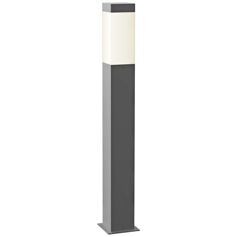 """Inside Out Square Column 28""""H Textured Gray LED Bollard"""