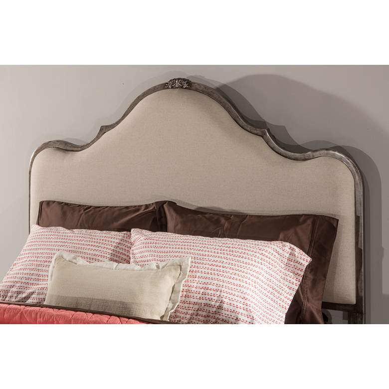 Hillsdale Delray Aged Steel and Linen Stone Queen Headboard