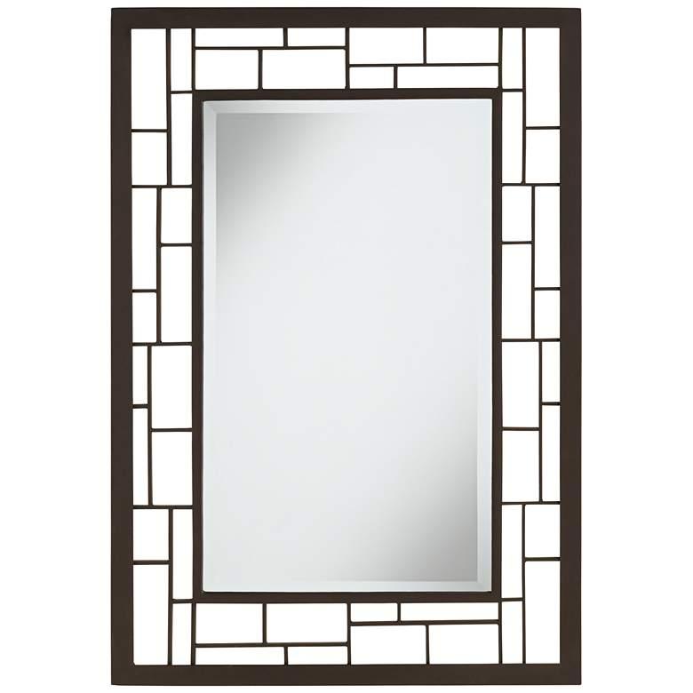 "Lennington Bronze Grid 27 3/4"" x 40"" Wall Mirror"