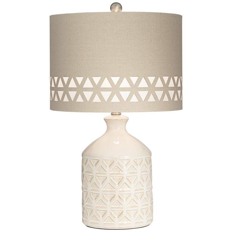 Kathy Ireland Menlo Creme Triangle Pattern Accent Table Lamp