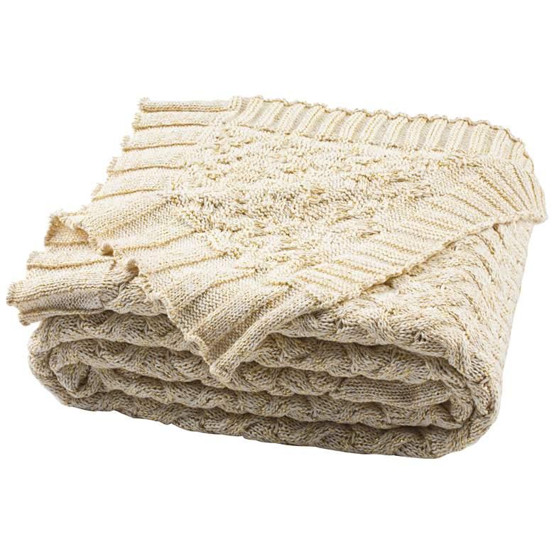 Safavieh Adara Natural and Gold Knit Throw Blanket