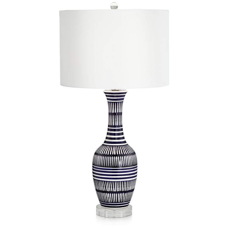 Cleo Dark Blue and White Ceramic Table Lamp