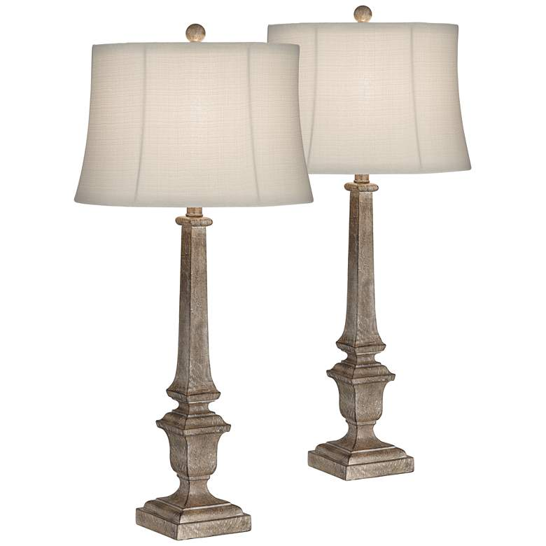 Jefferson Natural Wood Toned Column Table Lamps Set of 2