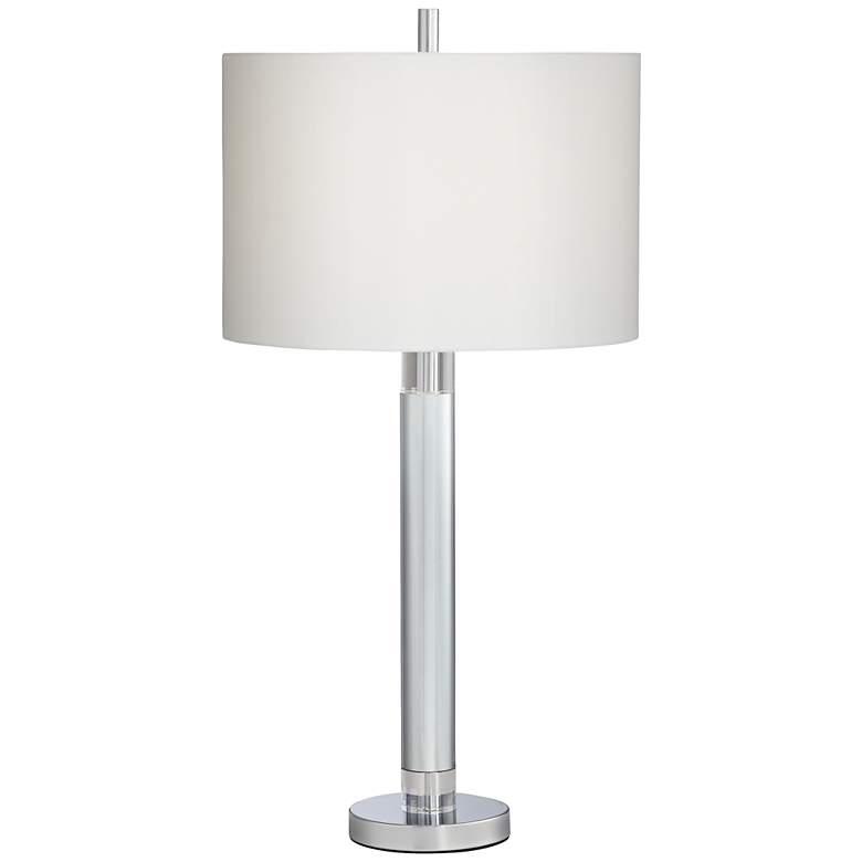 Atlas Chrome Metal Column Table Lamp