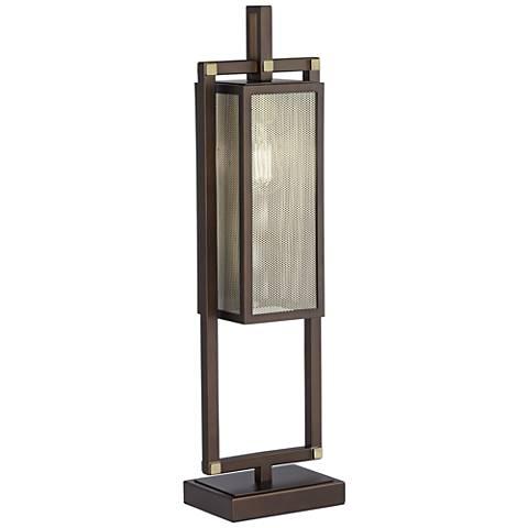 Lantern Bronze-Rubbed Metal Table Lamp