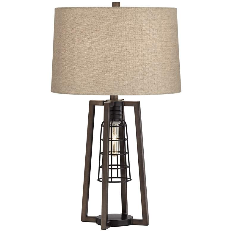 Julian Antique Nickel Caged Table Lamp with Night Light