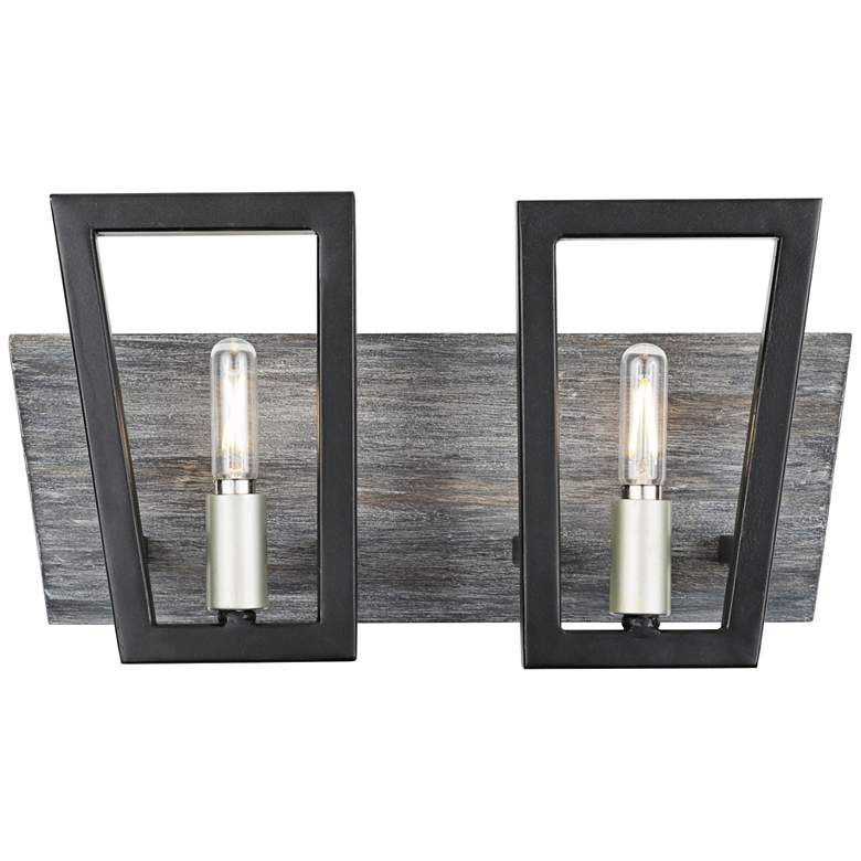 """Varaluz Zag 7 1/2""""H Black with Gray Wood 2-Light Wall Sconce"""