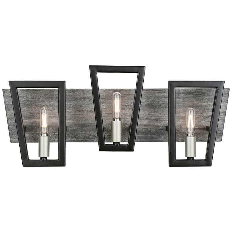 "Varaluz Zag 21"" Wide Black with Gray Wood 3-Light Bath Light"