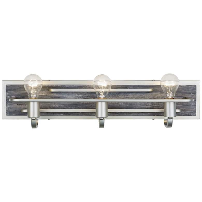 "Lofty 25 1/2"" Wide 3-Light Silverado with Gray Wood Bath Light"
