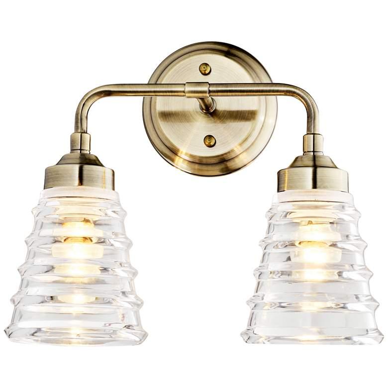 """Varaluz Amherst 11"""" High 2-Light Antique Brass Wall Sconce"""