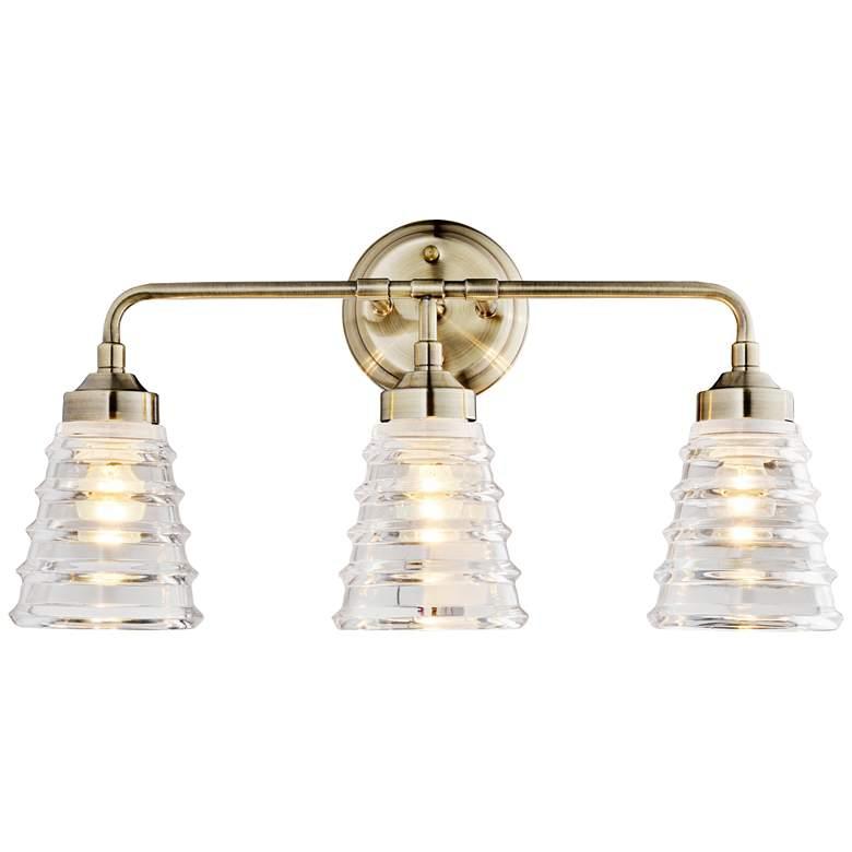 """Varaluz Amherst 22"""" Wide 3-Light Antique Brass Bath Light"""