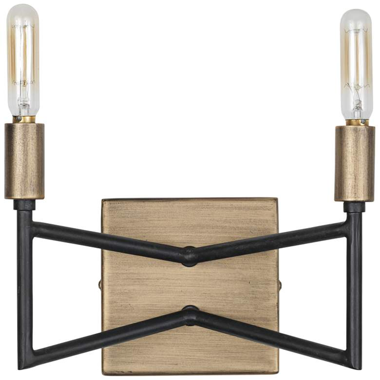 """Varaluz Bodie 6"""" High 2-Light Havana Gold and Carbon Sconce"""