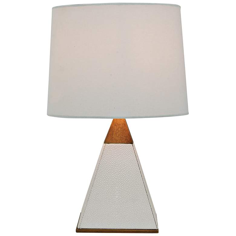 """Port 68 Cairo 16"""" High White Pearl Pyramid Accent Table Lamp"""