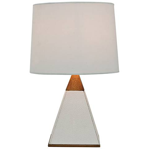 "Port 68 Cairo 16"" High White Pearl Pyramid Accent Table Lamp"