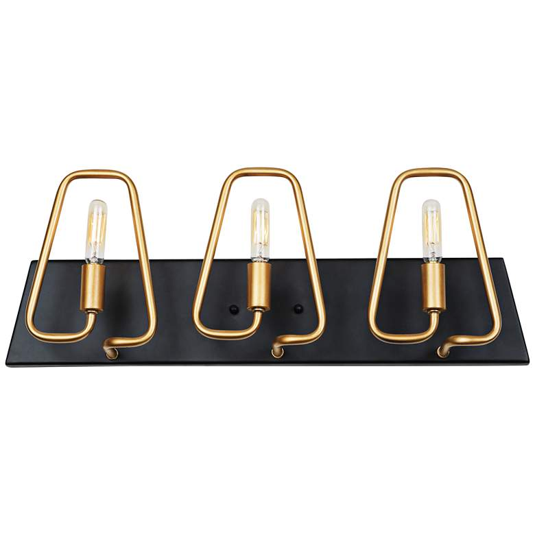 "Triangulo 22"" Wide 3-Light Aged Gold and Carbon Bath Light"