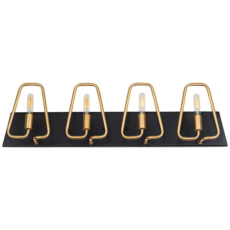 """Triangulo 29"""" Wide 4-Light Aged Gold and Carbon Bath Light"""