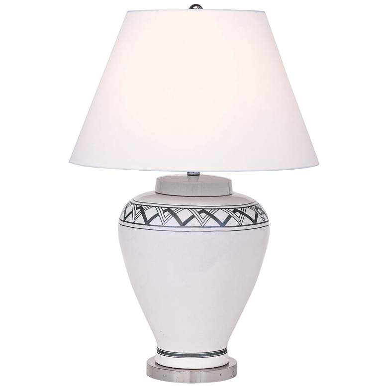 Port 68 Carlyle Cream Border-Patterned Porcelain Table Lamp