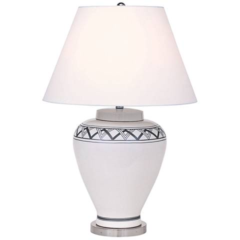 Port 68 Carlyle Cream Border-Patterned Porcelain Table Lamp