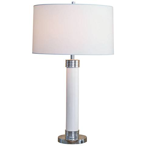 Port 68 Dearborn Cream White Column Porcelain Table Lamp