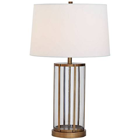 Port 68 Edgewater Aged Brass and Clear Glass Table Lamp