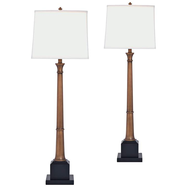 Port 68 Kensington Aged Brass Buffet Table Lamp Set of 2