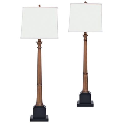 Port 68 Kensington Aged Brass Buffet Table Lamp Set of 2