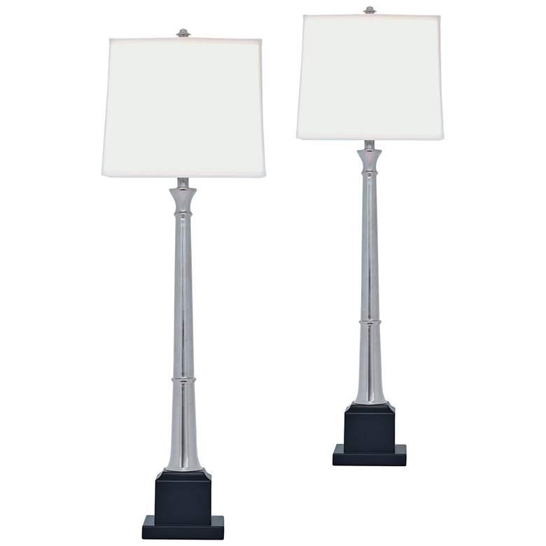 Port 68 Kensington Nickel Buffet Table Lamp Set of 2
