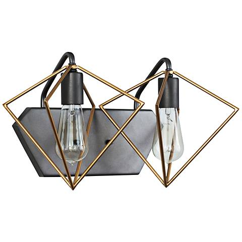 "Metropolis 9 1/2""H 2-Light Gold w/ Rustic Bronze Wall Sconce"