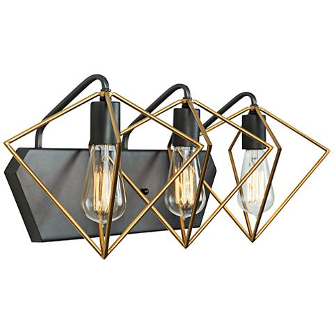 "Metropolis 23 1/2""W 3-Light Gold w/ Rustic Bronze Bath Light"