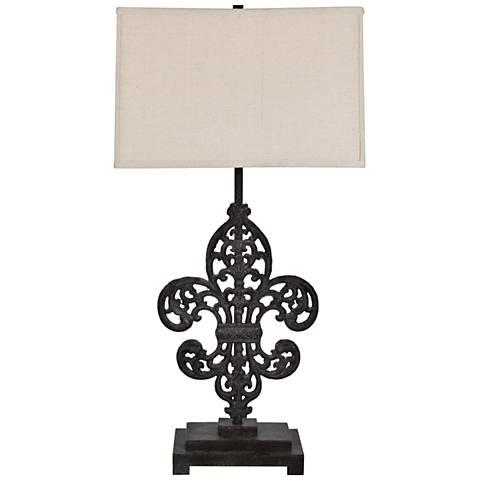 Crestview Collection Iron Fleur De Lis Bronze Table Lamp