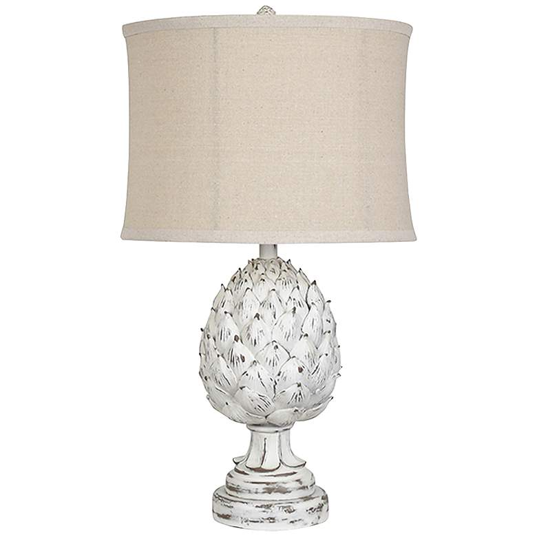 Crestview Collection Artichoke Finial White Wash Table Lamp