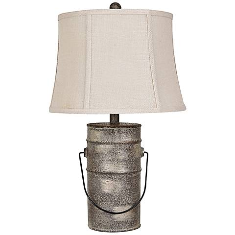 Crestview Collection Farm Pail Galvanized Metal Table Lamp