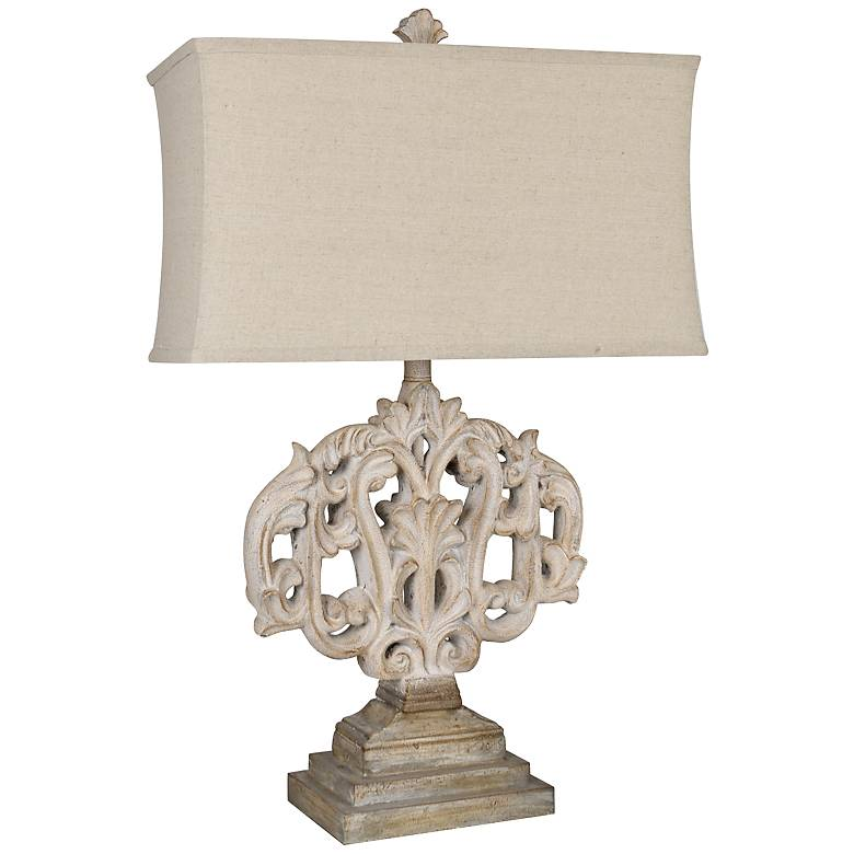 Crestview Collection Filigree Rustic White Gray Table Lamp