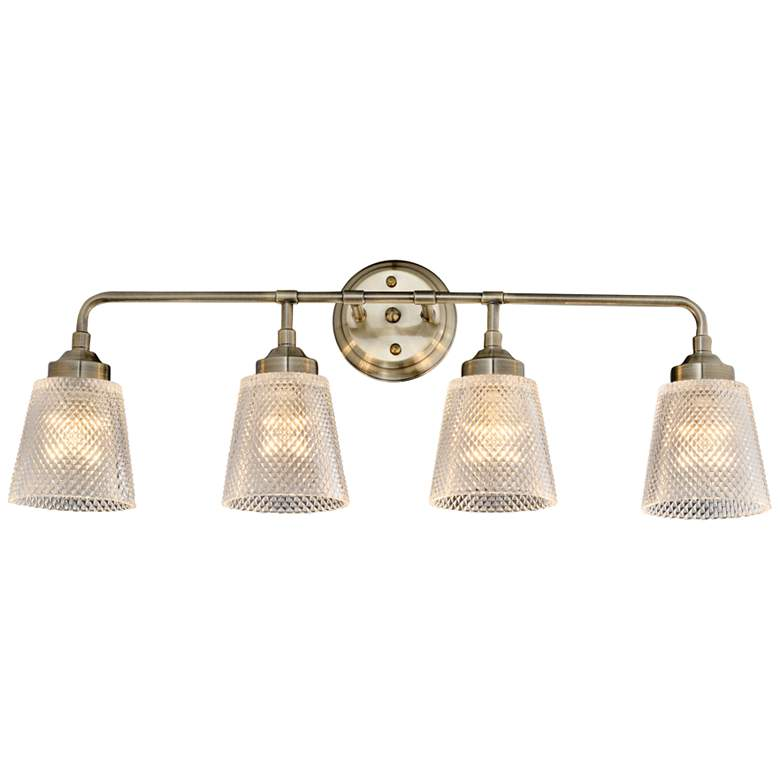 """Varaluz Westport 29 1/2""""W 4-Light Antique Brass Bath Light"""