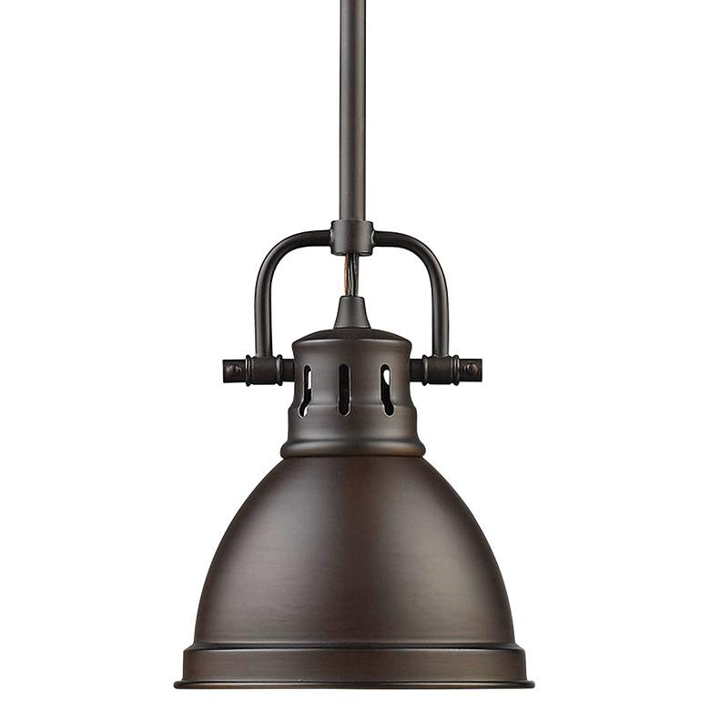 "Duncan 6 1/2"" Wide Rubbed Bronze Mini Pendant with Rod"