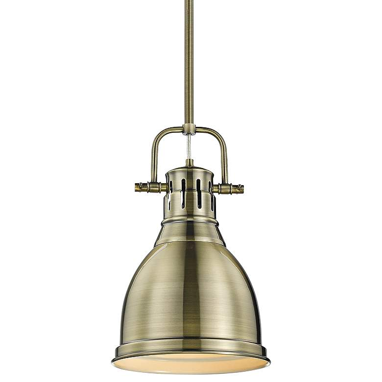 """Duncan 9"""" Wide Aged Brass Mini Pendant with Rod"""
