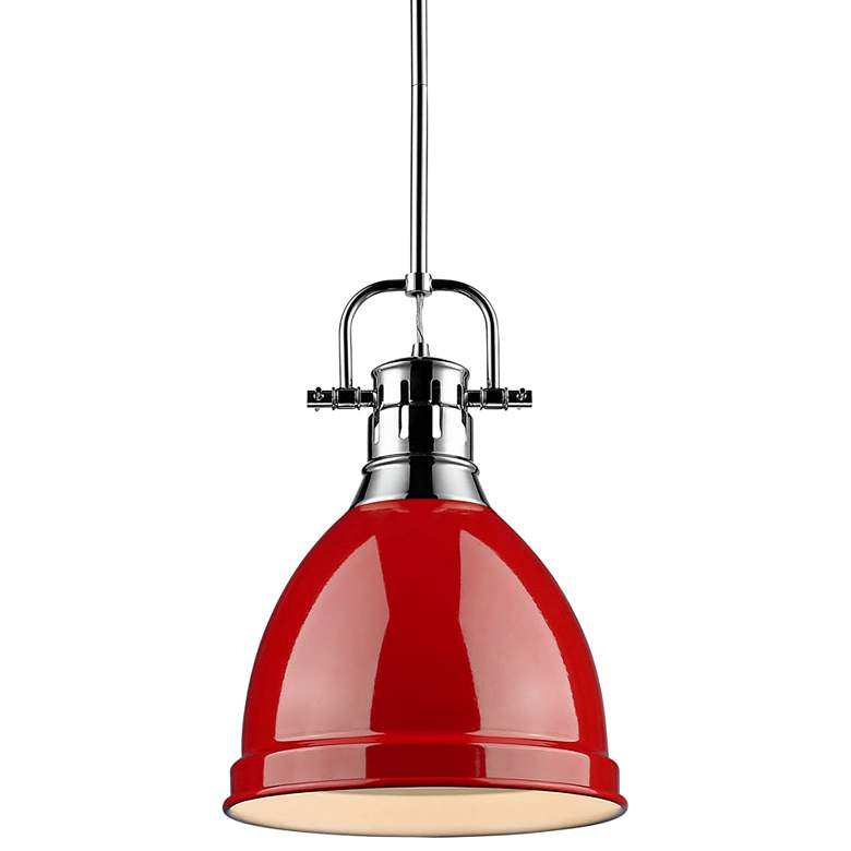 "Duncan 9"" Wide Chrome and Red Mini Pendant with Rod"