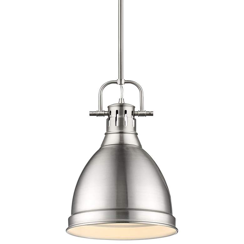 """Duncan 9"""" Wide Pewter Mini Pendant with Rod"""