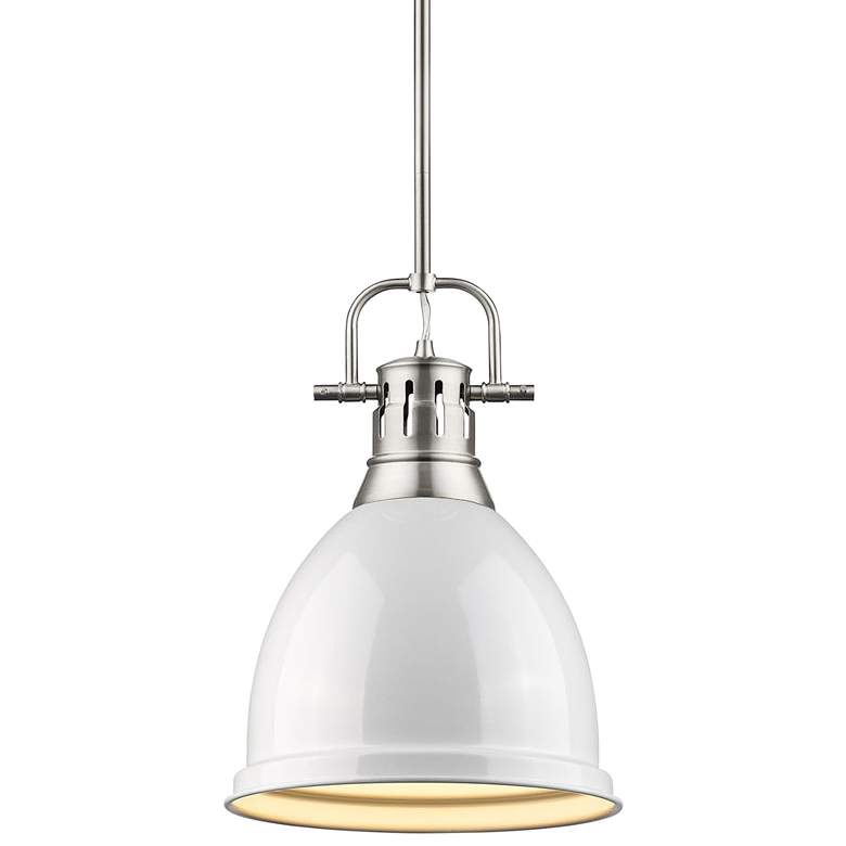 """Duncan 9"""" Wide Pewter and White Mini Pendant with Rod"""