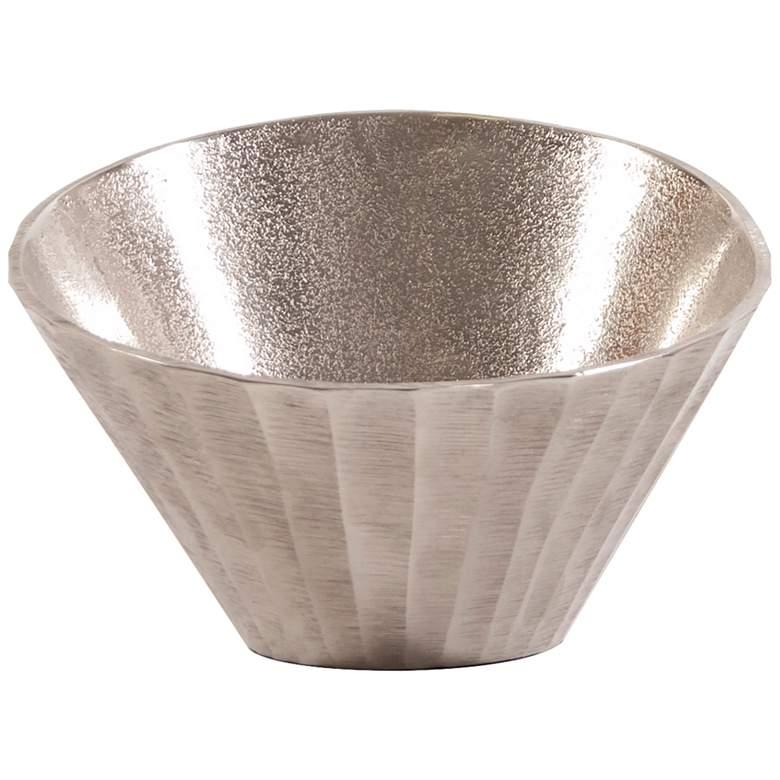Howard Elliot Textured Silver Chiseled Metal Decorative Bowl