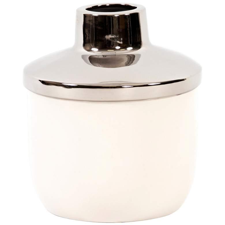 "Howard Elliot White Ceramic with Silver 11""H Medium Vase"