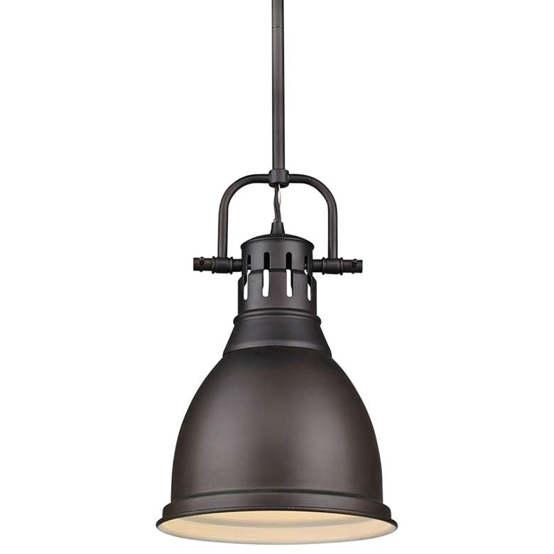 "Duncan 9"" Wide Rubbed Bronze Mini Pendant with Rod"