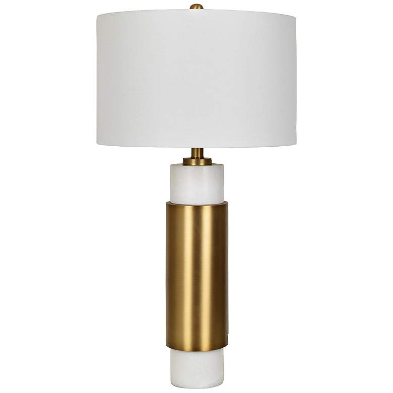 Palazzo White Marble and Soft Brass Metal Table Lamp