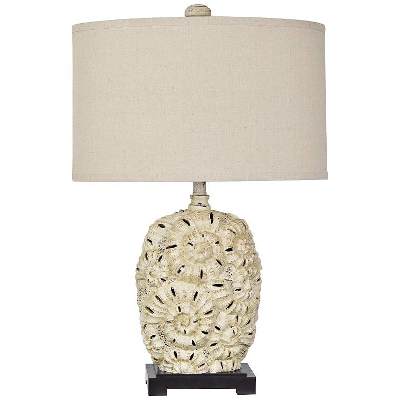 Fossilized Shell Sand Stone Beige and Black Table Lamp
