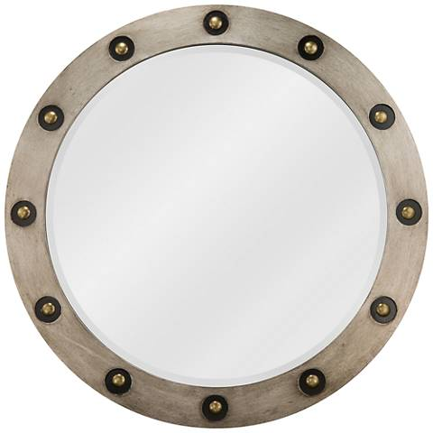 "Varaluz Casa Brad Antique Silver 36"" Round Wall Mirror"