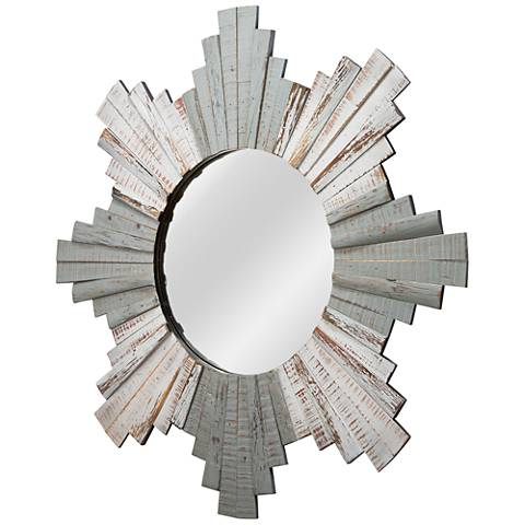 "Varaluz Casa Gray and Whitewash 32"" Sunburst Wall Mirror"
