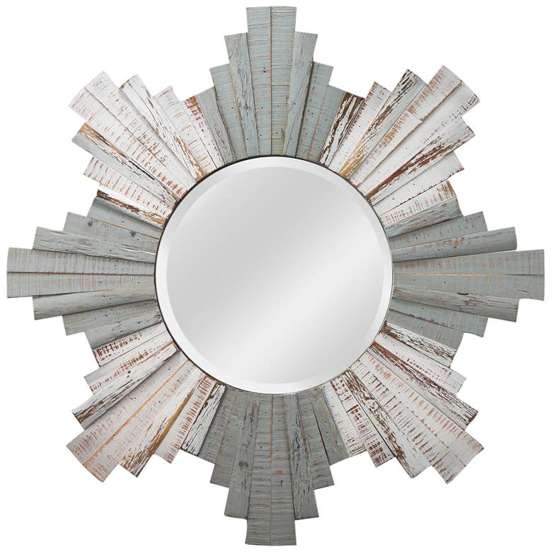 "Varaluz Casa Gray and Whitewash 36"" Sunburst Wall Mirror"