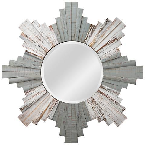 "Varaluz Casa Gray and Whitewash 36"" Sunburst Wall Mirror"